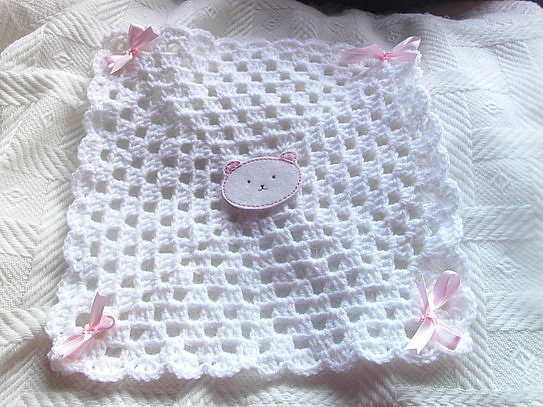 baby Girls burial blanket funeral WHITE Pink TED born at 22-24 weeks