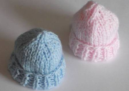 Smallest dignified baby burial clothes BLUE knitted hat 14cm