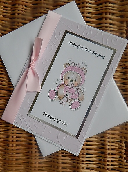 girls baby sympathy card STARY NIGHT in pink sympathy message inside