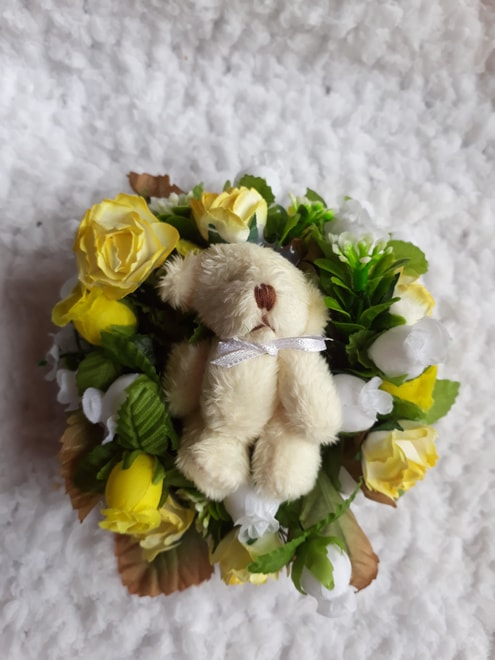 funeral flowers miscarriage tiny babies LEMON TEDDY WREATH
