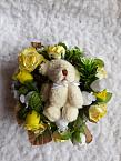 funeral flowers miscarriage tiny babies LEMON TEDDY WREATH