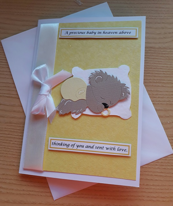 unisex sympathy card LOTS OF LOVE in lemon for baby loss card