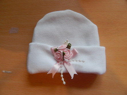 tiny baby burial white hat 22 -24 weeks  MISS ELEGANCE stillborn babies clothes