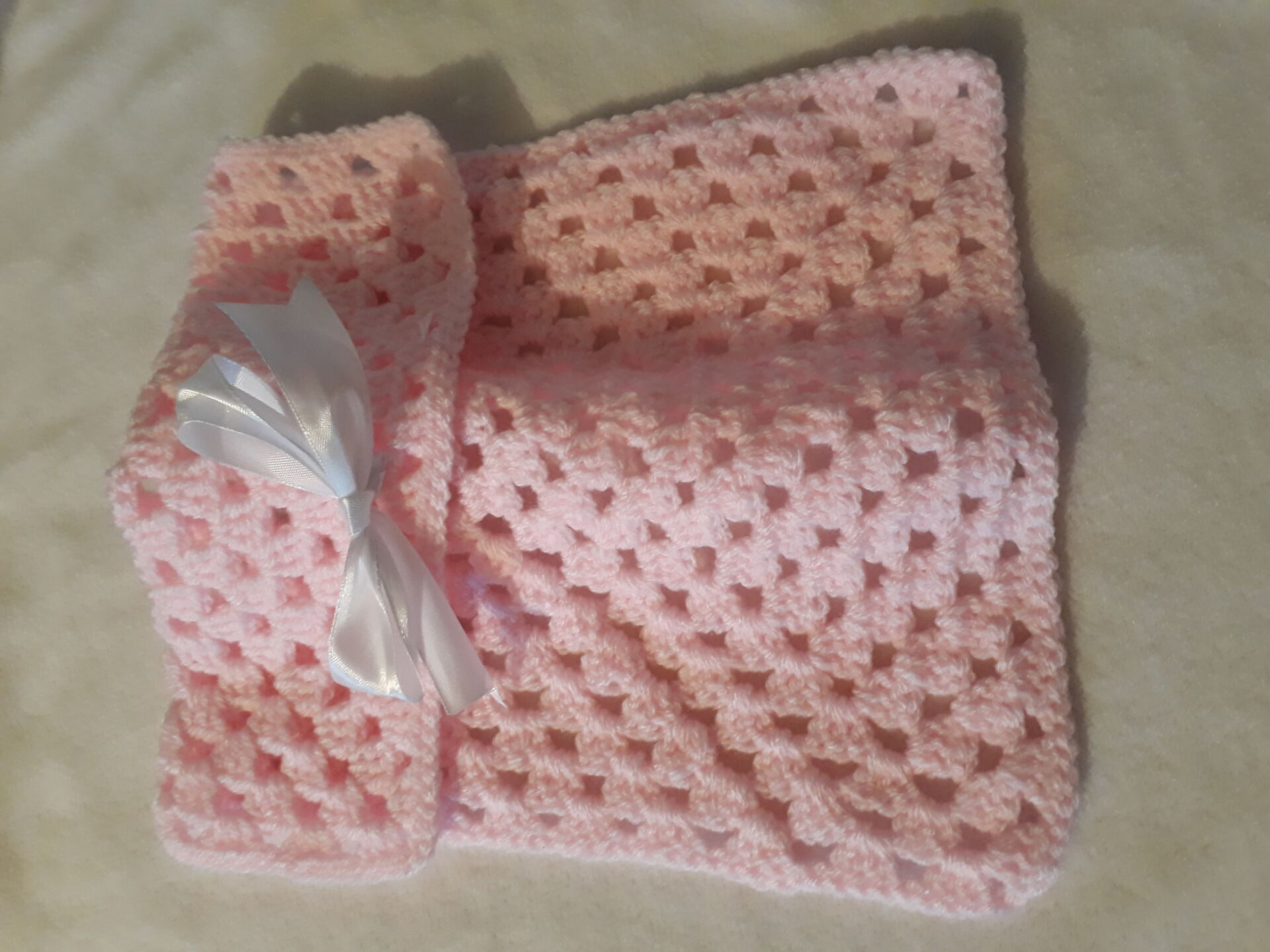baby blankets Crochet baby burial blanket style BOWPINK born 20-22weeks