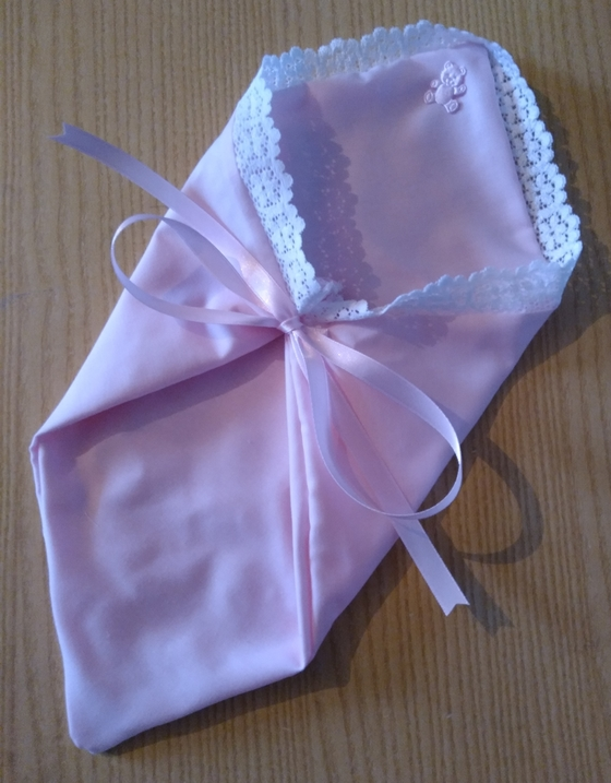 fetal demise tiny baby burial pouch in pink born at 20 weeks