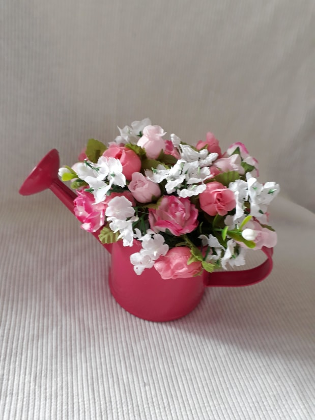artificial flowers baby grave memorial garden or urn RASPBERRY WATERING CAN