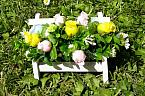 floral display baby garden memorial bench pink lemon blue artificial flowers