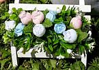 artificial baby burial plot flowers mini garden bench pinkwhiteblue