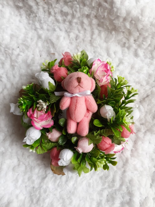 funeral flowers baby coffin funeral wreath mini size PINK TEDDY