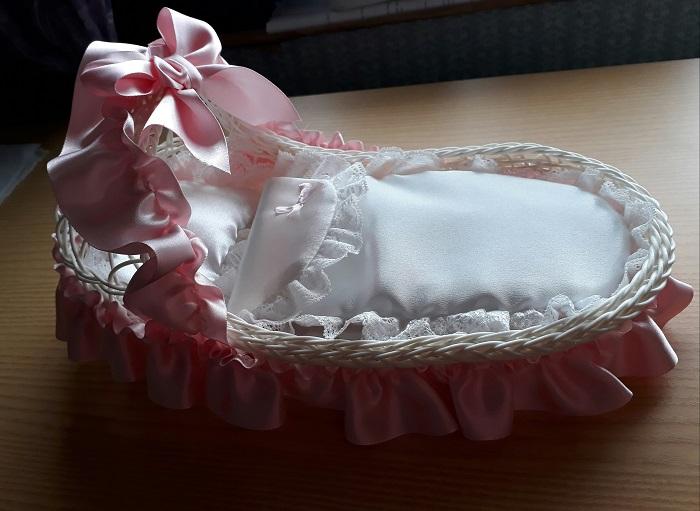 fetal baby loss burial crib moses basket funeral coffin casket PINK TRIMS 23cm