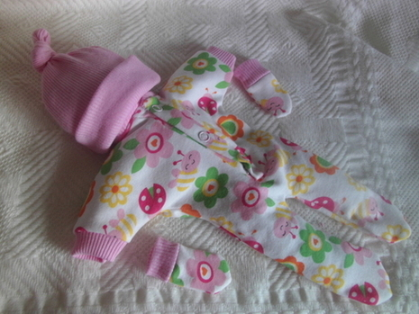 girls baby burial clothes born 23-24 weeks GARDENS SCENT smallest