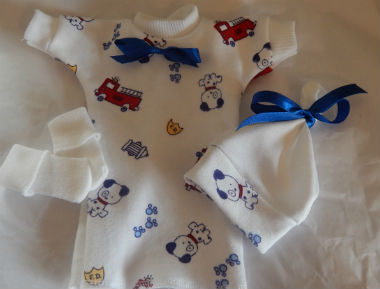 boys Baby Born stillborn gowns smallest stillbirth clothes HELLO PUPPY 0-1LB 20WEEK