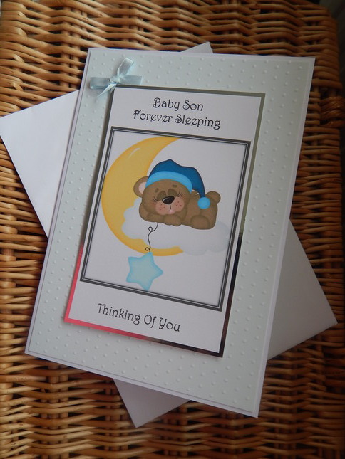 Baby Son burial cards babies funeral card sympathy blue SKY OF WONDER