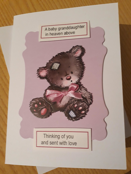 baby loss cards baby sympathy card Granddaughter BABA BEAR