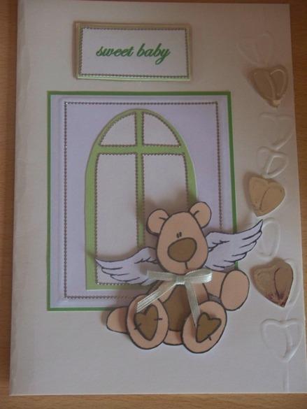 Unisex baby sympathy card babies funeral  card CUDDLY BEAR