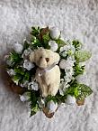 funeral wreath miscarriage tiny baby artificial flowers casket WHITE TEDDY